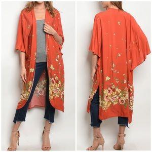 Sweaters - EARTH RUST floral Kimono/ Cardigan
